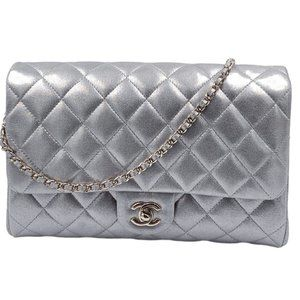 Authentic Chanel Silver Clutch Shoulder Bag Clutch